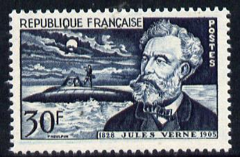 France 1955 Death Anniversary of Jules Verne (Author) showing Submarine unmounted mint, SG 1251