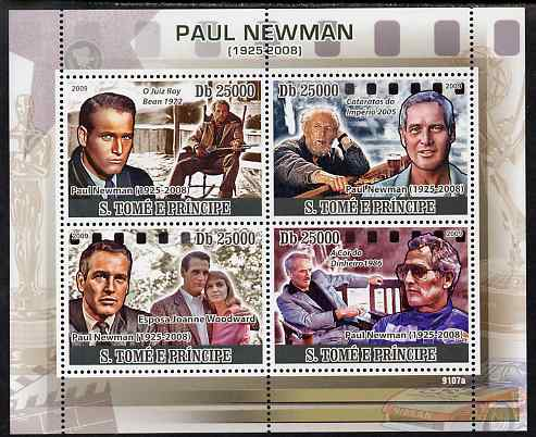 St Thomas & Prince Islands 2009 Paul Newman perf sheetlet containing 4 values unmounted mint