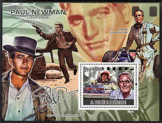 St Thomas & Prince Islands 2009 Paul Newman perf s/sheet unmounted mint, stamps on personalities, stamps on films, stamps on cinema, stamps on movies, stamps on cars