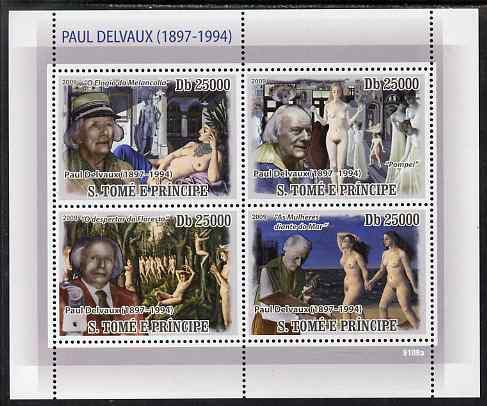 St Thomas & Prince Islands 2009 Paintings of Paul Delvaux perf sheetlet containing 4 values unmounted mint