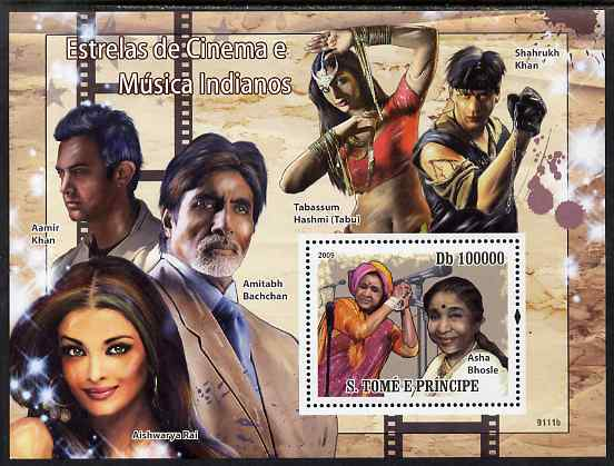 St Thomas & Prince Islands 2009 Indian Movie & Music Stars perf s/sheet unmounted mint