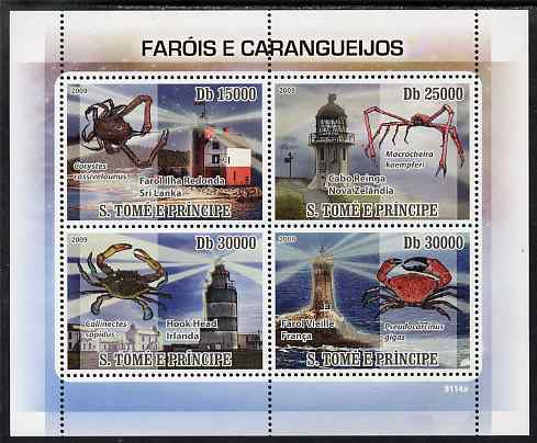 St Thomas & Prince Islands 2009 Lighthouses & Crabs perf sheetlet containing 4 values unmounted mint