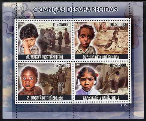St Thomas & Prince Islands 2009 Missing Children perf sheetlet containing 4 values unmounted mint