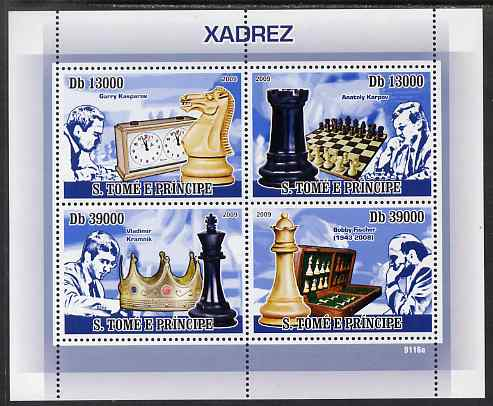 St Thomas & Prince Islands 2009 Chess perf sheetlet containing 4 values unmounted mint