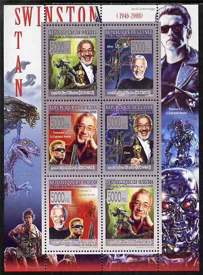 Guinea - Conakry 2008 Celebrities - Stan Winston perf sheetlet containing 6 values unmounted mint, Michel 5712-17