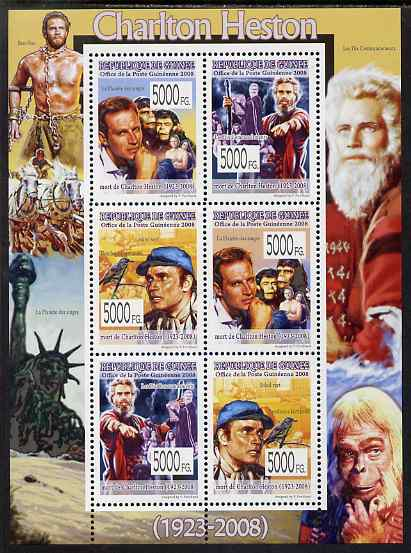 Guinea - Conakry 2008 Celebrities - Charlton Heston perf sheetlet containing 6 values unmounted mint, Michel 5638-43