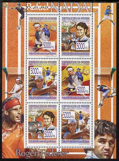 Guinea - Conakry 2008 Tennis - Federer & Nadal perf sheetlet containing 6 values unmounted mint, Michel 5622-27