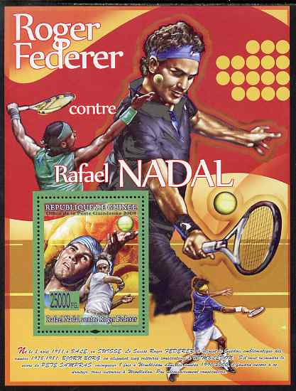 Guinea - Conakry 2008 Tennis - Federer v Nadal perf s/sheet unmounted mint, Michel BL1544