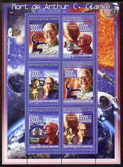 Guinea - Conakry 2008 Death of Arthur C Clarke perf sheetlet containing 6 values unmounted mint, Michel 5684-89