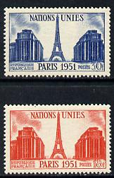 France 1951 UN General Assembly set of 2 (Eiffel Tower) unmounted mint SG 1132-33