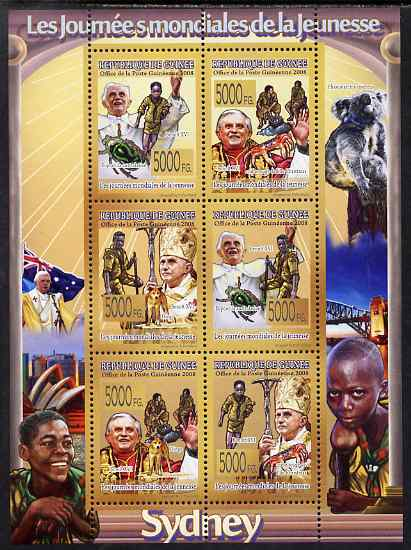 Guinea - Conakry 2008 World Youth Day (Pope & Scouts) perf sheetlet containing 6 values unmounted mint, Michel 5726-31