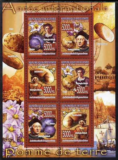 Guinea - Conakry 2008 International Year of the Potato perf sheetlet containing 6 values unmounted mint, Michel 5719-24