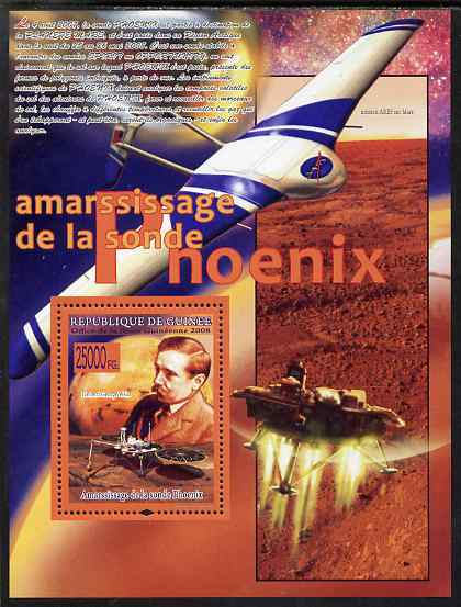 Guinea - Conakry 2008 Phoenix Probe to Mars perf s/sheet unmounted mint, Michel BL1567