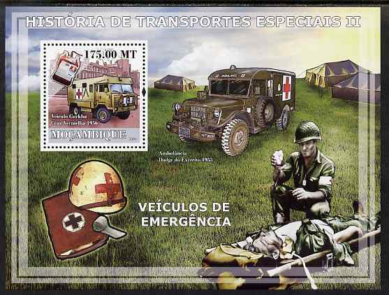 Mozambique 2009 History of Transport - Ambulances perf s/sheet unmounted mint
