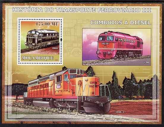 Mozambique 2009 History of Transport - Railways #03 perf s/sheet unmounted mint