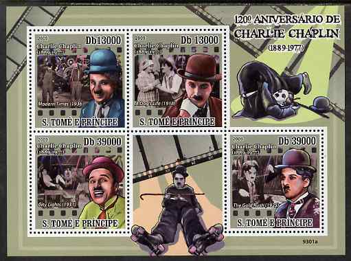 St Thomas & Prince Islands 2009 120th Birth Anniversary of Charlie Chaplin perf sheetlet containing 4 values unmounted mint