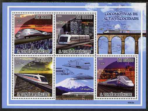 St Thomas & Prince Islands 2009 High Speed Trains perf sheetlet containing 4 values unmounted mint