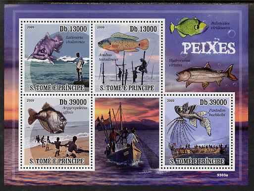 St Thomas & Prince Islands 2009 Fish & Fishing perf sheetlet containing 4 values unmounted mint