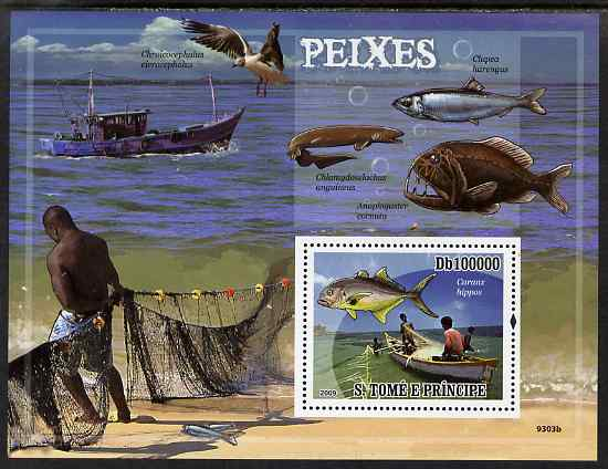 St Thomas & Prince Islands 2009 Fish & Fishing perf s/sheet unmounted mint