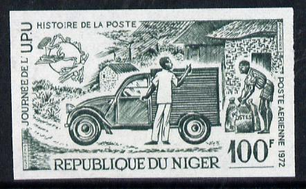 Niger Republic 1973 World Universal Postal Union Day 100f (Mail Van) imperf colour trial proof (SG 446) several different colour combinations available but price is for ONE unmounted mint