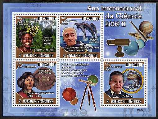 St Thomas & Prince Islands 2009 International Science Year #2 perf sheetlet containing 4 values unmounted mint