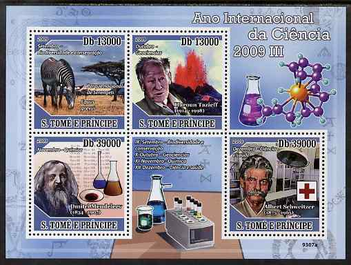 St Thomas & Prince Islands 2009 International Science Year #3 perf sheetlet containing 4 values unmounted mint