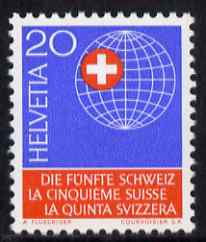 Switzerland 1966 50th Anniversary of Helvetic Society 20c unmounted mint, SG 739