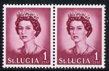 St Lucia 1964 QEII def 1c unmounted mint pair, one stamp with L flaw from R4/6, SG 197var