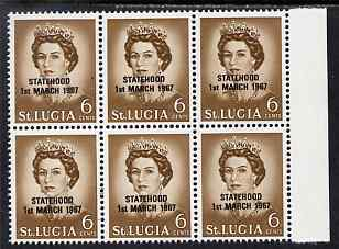 St Lucia 1967 unissued 6c with Statehood overprint in black, unmounted mint marginal block of 6 with semi-constant black flaw at right from overprint forme on R7/8