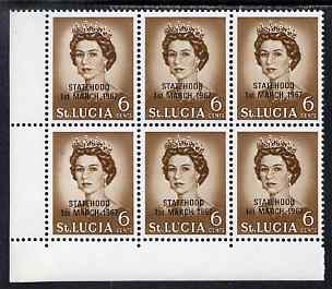 St Lucia 1967 unissued 6c with Statehood overprint in black, unmounted mint corner block of 6 with semi-constant black dot to left of Queen on R10/1 from overprint forme