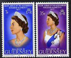 Guernsey 1977 Silver Jubilee set of 2 unmounted mint, SG 149-50, stamps on , stamps on  stamps on royalty