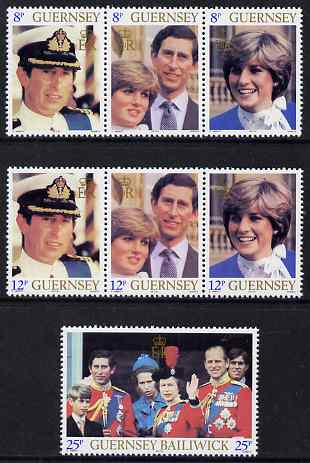 Guernsey 1981 Royal Wedding set of 7 unmounted mint, SG 232-38