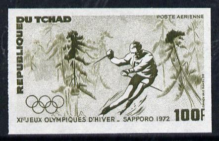 Chad 1972 Sapporo Winter Olympics 100f (Downhill Skiing) unmounted mint imperf colour trial proof (several different combinations available but price is for ONE) as SG 356