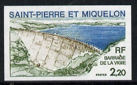 St Pierre & Miquelon 1976 Vigie Dam two different Imperf colour trial proofs unmounted mint, SG 549, stamps on dams    buildings    civil engineering    irrigation