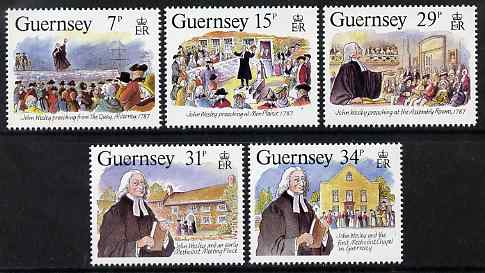 Guernsey 1987 Bicentenary of John Wesley's visit to Guernsey set of 5 unmounted mint, SG 410-14