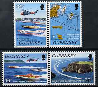 Guernsey 1988 World Offshore Powerboat Championships set of 4 unmounted mint, SG 429-32, stamps on sports, stamps on helicopters