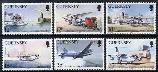 Guernsey 1989 50th Anniversary of Guernsey Airport & 201 Squadron set of 6 unmounted mint, SG 456-61
