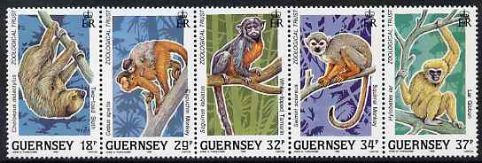 Guernsey 1989 10th Anniversary of Guernsey Zoological Trust - Animals of the Rainforest set of 5 unmounted mint, SG 469-73