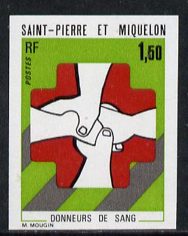 St Pierre & Miquelon 1974 Blood Donors imperf proof in issued colours unmounted mint (SG 527*)