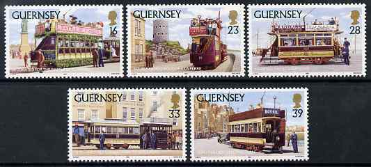 Guernsey 1992 Trams set of 5 unmounted mint, SG 588-92