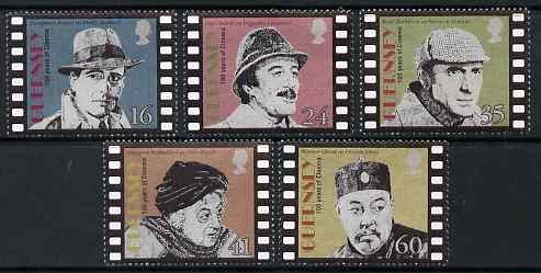 Guernsey 1996 Centenary of Cinema - Screen Detectives set of 5 unmounted mint, SG 711-15, stamps on cinema, stamps on personalities