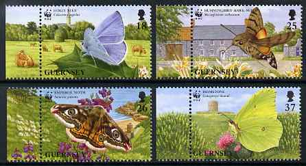 Guernsey 1997 WWF - Endangered Species - Butterflies & moths set of 4 unmounted mint, SG 730-33