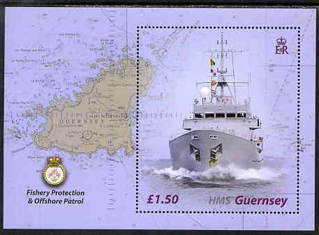 Guernsey 2003 Decommissioning of HMS Guernsey (fishery protection patrol vessel) perf m/sheet unmounted mint, SG MS997