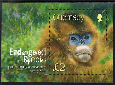 Guernsey 2004 Endangered Species (1st series) Golden Snub-nosed Monkey perf m/sheet unmounted mint, SG MS1016
