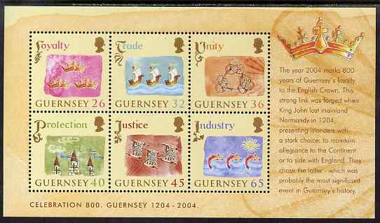 Guernsey 2004 800th Anniversary of Allegiance to England perf m/sheet of 6 unmounted mint, SG MS1044