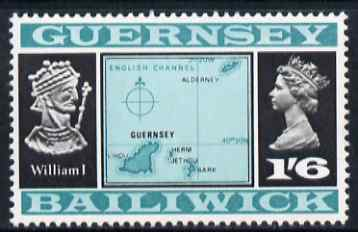 Guernsey 1969-70 1s 6d Map & William I (Type 1) unmounted mint, SG 23