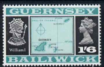 Guernsey 1969-70 1s 6d Map & William I (Type 2) unmounted mint, SG 23b
