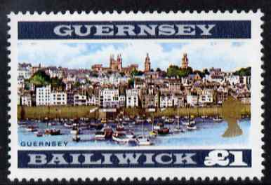 Guernsey 1969-70 �1 View of Guernsey (perf 13.5) unmounted mint, SG 28a