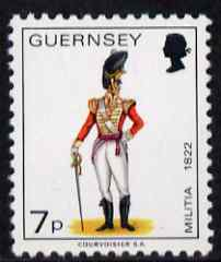Guernsey 1974-78 Officer, East Regiment 7p from Militia Uniforms def set unmounted mint, SG 107a