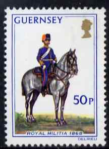 Guernsey 1974-78 Officer, Field Battery 50p from Militia Uniforms def set unmounted mint, SG 112